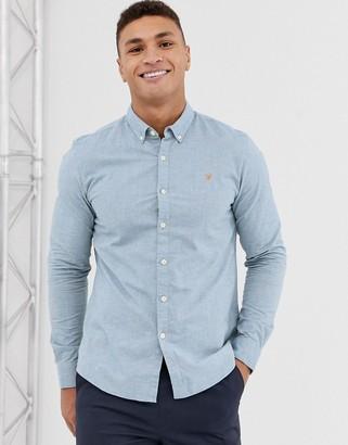 Farah Steen slim fit textured shirt in blue