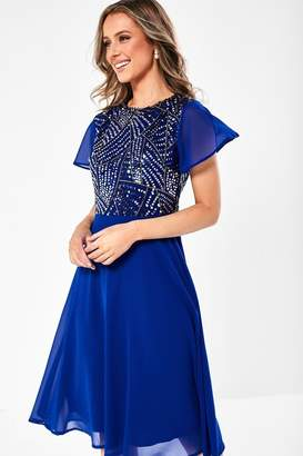 Simona Iclothing iClothing Sequin Top Occasion Dress in Royal Blue
