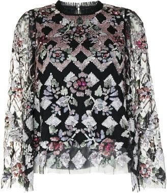 Needle & Thread Harlequin Rose sequin embellished top