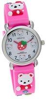 Geneva Stawberry Teddy Bear Pink Rubber Band Kids Watch #CH-161