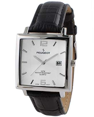 Peugeot Men's Modern Rectangular Analog-Quartz Watch with Leather Strap