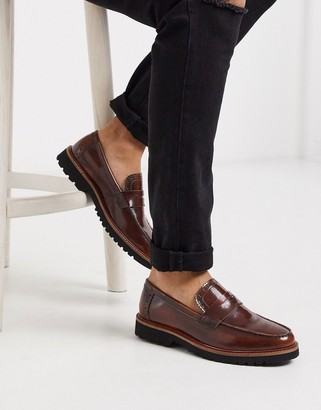 Silver Street chunky sole loafer in brown