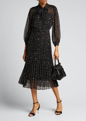 Rickie Freeman For Teri Jon Tie-Neck Long-Sleeve Chiffon Dress w/ Pleated Skirt