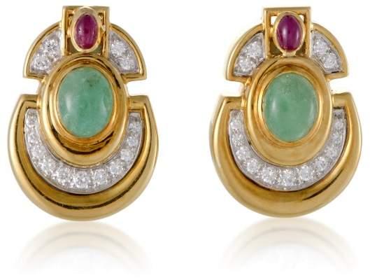 David Webb Womens 18K Yellow and White Gold Precious Gemstone Clip-on Earrings