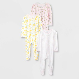 N. Baby Girls' 3pk Oh Honeybee Zip Sleep N' Play Pajama - Cloud IslandTM /Yellow/Light