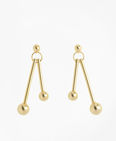 Brooks Brothers Ball-and-Bar Drop Earrings