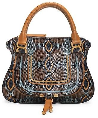 Chloé Medium Marcie Python-Embossed Leather Satchel