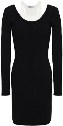 alexanderwang.t Paneled Ribbed-knit Mini Dress