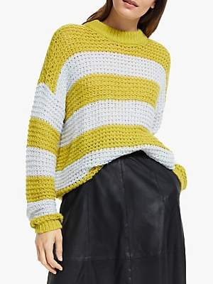 Y.A.S Brenda Long Sleeve Stripe Jumper, White/Yellow