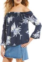 Roxy Floral Printed Moon Sapphire Bell Sleeve Top
