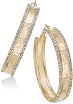 Thalia Sodi Gold-Tone Hammered Crystal Hoop Earrings, Only at Macy's