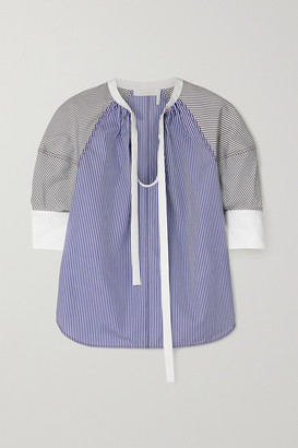 Chloé Tie-neck Pinstriped Cotton-poplin Blouse - Blue