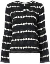Derek Lam 10 Crosby Long Sleeve V-Neck Blouse With Bell Sleeves