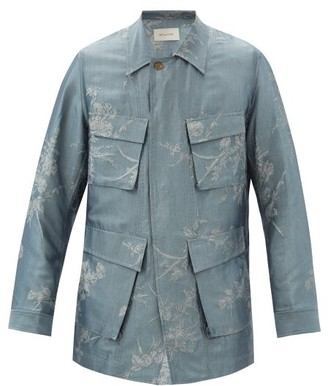 BED J.W. FORD Flower-jacquard Sateen Shirt Jacket - Grey