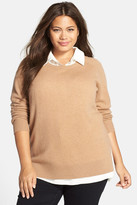 Halogen Cashmere Crewneck Sweater (Plus Size)