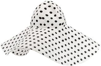 Marianna SENCHINA Floppy Hat in White & Black Polka Dot   FWRD