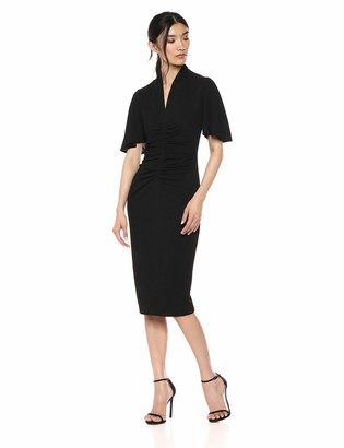 Maggy London Women's Evening Crepe Solid Cocktail Sheath with Short Sleeve