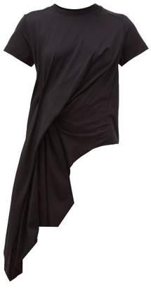 Marques Almeida Marques'almeida - Asymmetric Draped Cotton T Shirt - Womens - Black