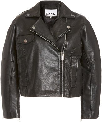 Ganni Cropped Grain Leather Jacket