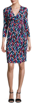 Anne Klein Printed Ity Classic Wrap Dress