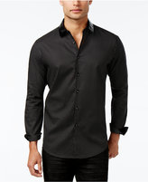 INC International Concepts Men's Faux-Leather Collar Dot-Pattern Shirt, Only at Macy's