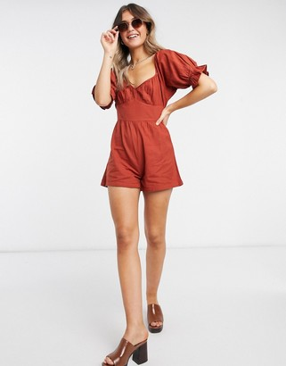 Influence corset detail playsuit in rust