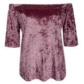 Paixpays Faux Velvet Women Short Sleeves T Shirt Off Shoulder Blouse Shirt Tops