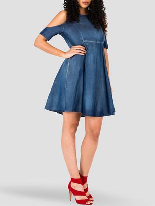 Poetic Justice Lauren Cold Shoulder Flare Mini Tencel Dress