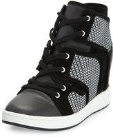 L.A.M.B. Gera Hidden-Wedge Sneaker, Black