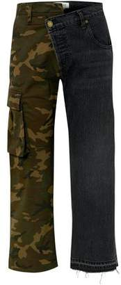 Monse Printed Twill And Denim Straight-leg Pants
