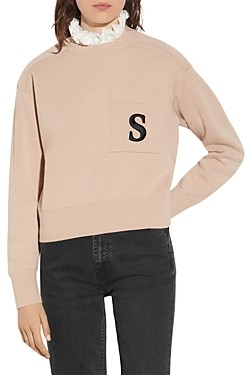 Sandro Lucille Ruffled Collar Embroidered Sweater