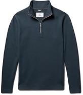 Reigning Champ Perforated Cotton-blend Half-zip Sweatshirt - Storm blue
