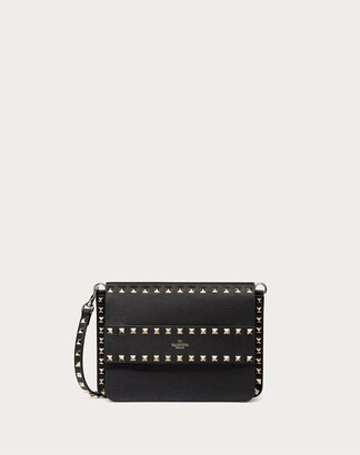 Valentino Small Rockstud Grainy Leather Crossbody Bag Women Black 100% Pelle Di Vitello - Bos Taurus OneSize