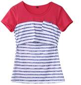 Multitrust Women Breastfeeding Tops Maternity Nursing Striped Patchwork Shirts (L, )