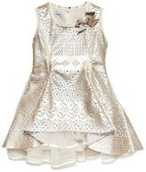 Laser-Cut Faux Leather & Tulle Dress
