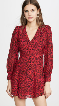 Alice + Olivia Polly Strong Shoulder V Neck Dress