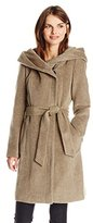 Cole Haan Women's Alpaca Wool Belted Coat with Hood