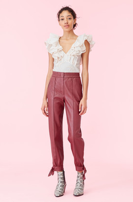Rebecca Taylor Vegan Leather Tie Cuff Pant