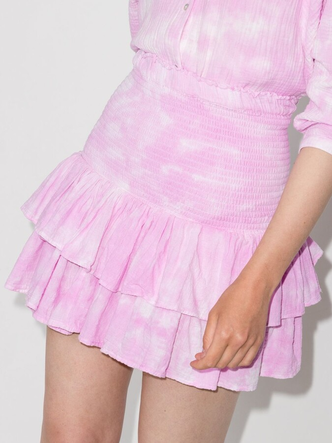Thumbnail for your product : HONORINE Pink Pixie Tiered Tie-Dye Mini Skirt