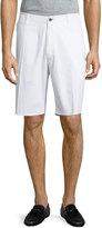 Neiman Marcus Pincord Straight-Leg Shorts, White