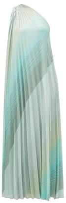 Missoni One-shoulder Pleated Diagonal-stripe Dress - Womens - Green