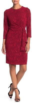 London Times Tie Waist Lace Dress (Petite)