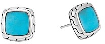 John Hardy Sterling Silver Classic Chain Stud Earrings with Turquoise