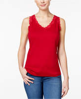 Karen Scott Petite Scalloped Lace Cotton Tank, Only at Macy's