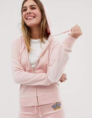 Juicy Couture Black Label velour zip hoodie with diamante crest co-ord-Pink