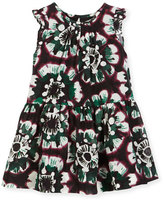Burberry Yasmine Sleeveless Smocked Floral Dress, Deep Claret, Size 4-14