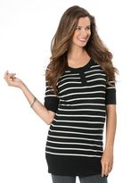 A Pea in the Pod Elbow Sleeve Henley Collar Maternity Sweater Dress
