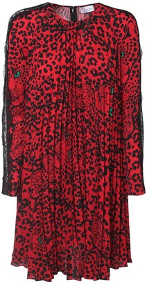 RED Valentino Leo Print Pleated Mini Dress