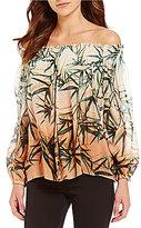Nicole Miller Artelier Rocky Sunset Palm Print Off-the-Shoulder Blouse