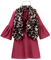 My Michelle mymichelle Bell Sleeve Dress, Animal Print Faux Fur Vest & Necklace Set (Big Girls)